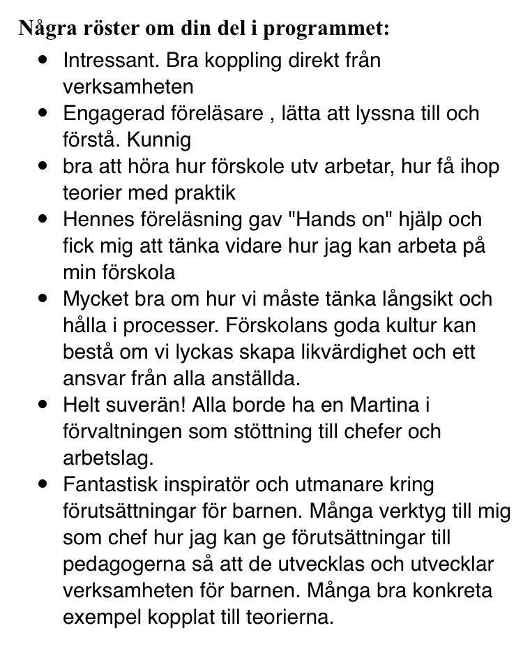 """Ur utvärderingen från konferensen """"Framtidens förskola"""", Stockholm jan 2018"""